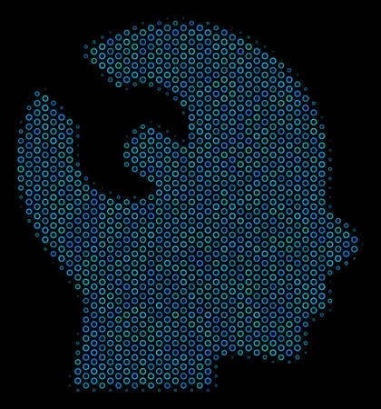 Halftone Brain wrench tool collage icon of empty circles in blue color tones on a black background. Vector empty circles are combined into brain wrench tool mosaic.