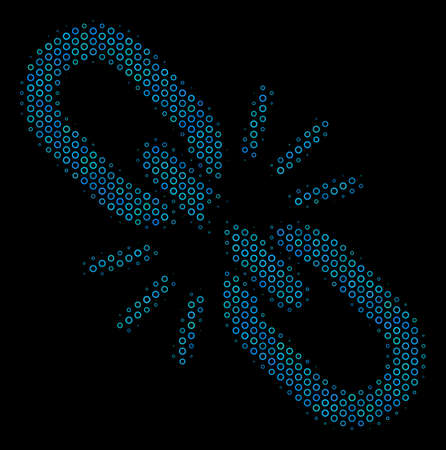 Halftone Break chain link mosaic icon of spheres in blue color tones on a black background. Vector bubble spheres are composed into break chain link collage.