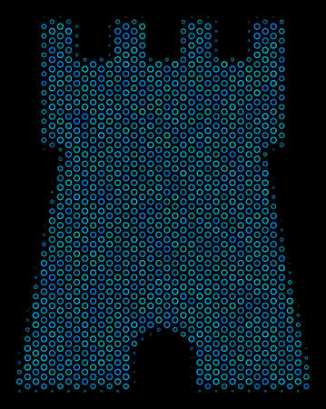 Halftone Bulwark tower collage icon of spheric bubbles in blue shades on a black background. Vector circle bubbles are composed into bulwark tower collage.