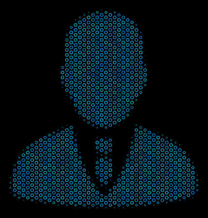 Halftone Businessman collage icon of empty circles in blue color hues on a black background. Vector empty circles are organized into businessman collage.