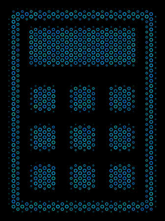 Halftone Calculator collage icon of circle elements in blue color tones on a black background. Vector circle bubbles are composed into calculator mosaic.