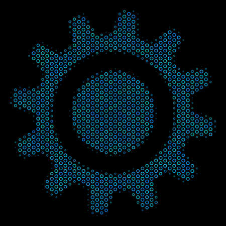 Halftone Cog collage icon of spheric bubbles in blue color tinges on a black background. Vector spheric dots are composed into cog illustration. Illustration