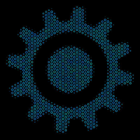 Halftone Cogwheel composition icon of empty circles in blue color tinges on a black background. Vector empty circles are organized into cogwheel collage.