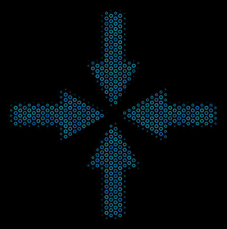 Halftone Collide arrows composition icon of empty circles in blue color tinges on a black background. Vector empty circles are combined into collide arrows illustration.