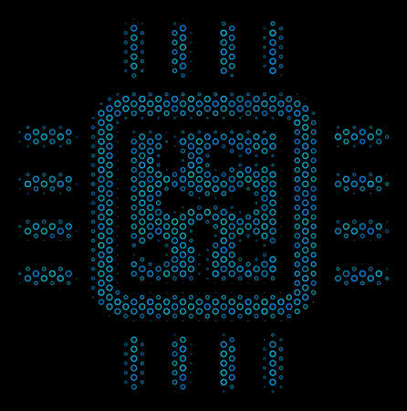 Halftone CPU circuit composition icon of circle elements in blue color hues on a black background. Vector circle bubbles are organized into CPU circuit illustration.