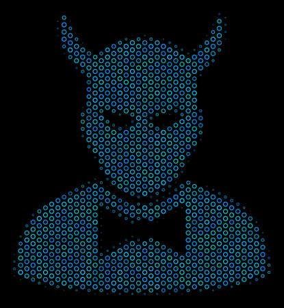 Halftone Devil composition icon of spheres in blue color tones on a black background. Vector round spheres are united into devil composition. Illustration