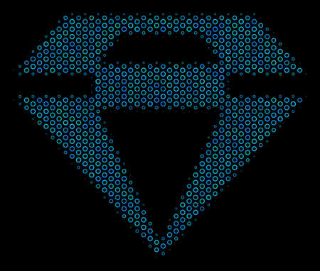 Halftone Diamond mosaic icon of circle bubbles in blue shades on a black background. Vector circle bubbles are arranged into diamond mosaic.
