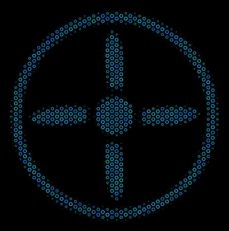 Halftone Drone screw composition icon of circle bubbles in blue color hues on a black background. Vector circle bubbles are combined into drone screw mosaic.