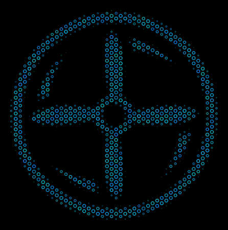 Halftone Drone screw rotation mosaic icon of empty circles in blue color tints on a black background. Vector round donuts are united into drone screw rotation mosaic.