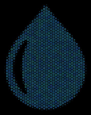 Halftone Drop collage icon of empty circles in blue color tones on a black background. Vector empty circles are organized into drop illustration.