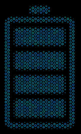 Halftone Electric battery composition icon of circle bubbles in blue color tones on a black background. Vector circle items are composed into electric battery illustration.