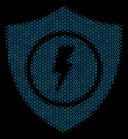 Halftone Electric guard mosaic icon of circle bubbles in blue color tones on a black background. Vector bubble spheres are arranged into electric guard mosaic.