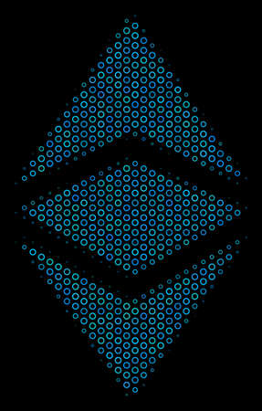 Halftone Ethereum classic collage icon of circle elements in blue color tones on a black background. Vector spheric dots are grouped into Ethereum classic collage. Illustration
