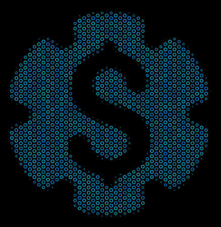 Halftone Financial settings gear mosaic icon of circle bubbles in blue color tints on a black background. Vector circle bubbles are grouped into financial settings gear mosaic. Illustration