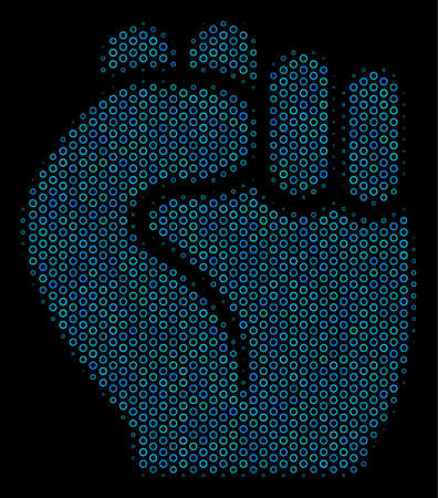 Halftone Fist mosaic icon of circle elements in blue color hues on a black background. Vector circle items are grouped into fist mosaic.