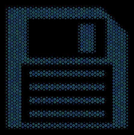Halftone Floppy disk collage icon of circle bubbles in blue color tints on a black background. Vector circle bubbles are arranged into floppy disk mosaic.