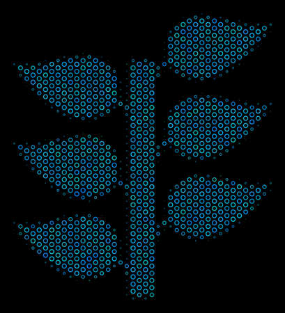 Halftone Flora plant mosaic icon of empty circles in blue color tones on a black background. Vector empty circles are united into flora plant mosaic.