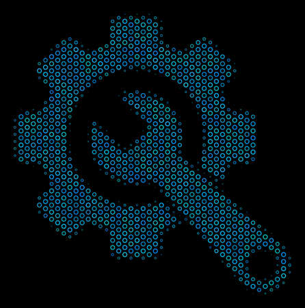 Halftone Gear and wrench mosaic icon of spheres in blue color tones on a black background. Vector bubble spheres are organized into gear and wrench illustration.