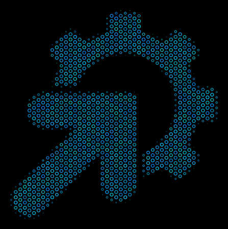 Halftone Gear integration composition icon of spheres in blue color tones on a black background. Vector empty circles are organized into gear integration composition.