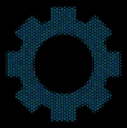 Halftone Gear composition icon of empty circles in blue color tints on a black background. Vector empty circles are grouped into gear mosaic. Illustration