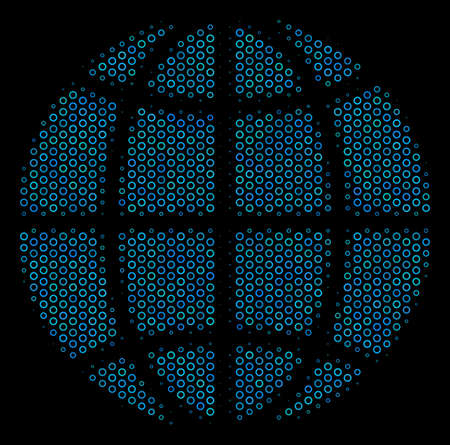 Halftone Globe mosaic icon of spheric bubbles in blue color hues on a black background. Vector spheric points are composed into globe mosaic.