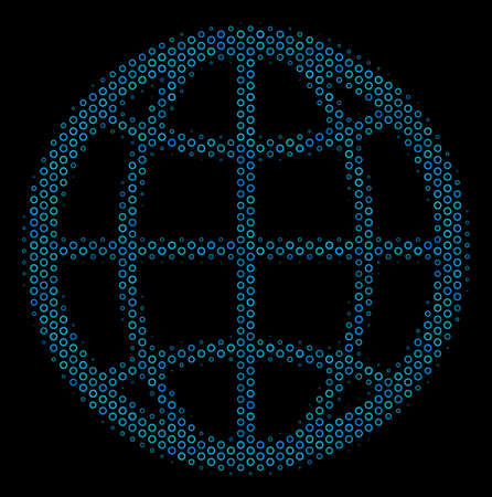 Halftone Globe collage icon of circle bubbles in blue color tones on a black background. Vector empty circles are composed into globe collage.