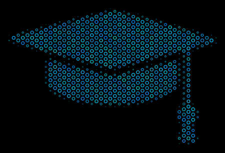 Halftone Graduation cap mosaic icon of empty circles in blue shades on a black background. Vector empty circles are organized into graduation cap mosaic. Illustration