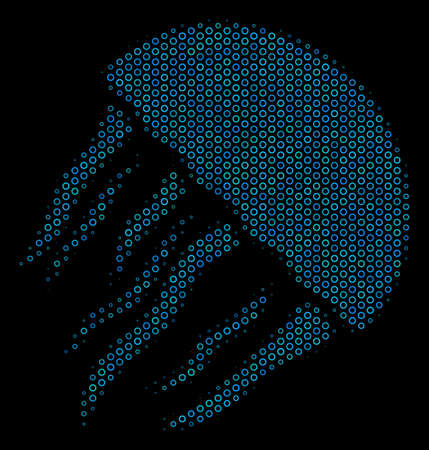 Halftone Jellyfish mosaic icon of spheric bubbles in blue color tones on a black background. Vector circle items are combined into jellyfish mosaic. Illustration