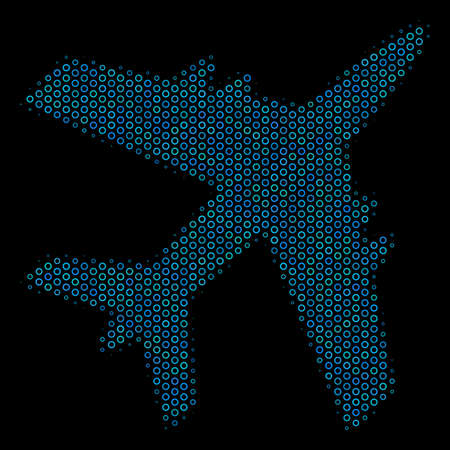 Halftone Jet plane collage icon of spheric bubbles in blue color tinges on a black background. Vector circle bubbles are composed into jet plane collage.