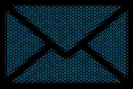 Halftone Mail envelope collage icon of circle bubbles in blue color tones on a black background. Vector circle items are composed into mail envelope illustration. Illustration