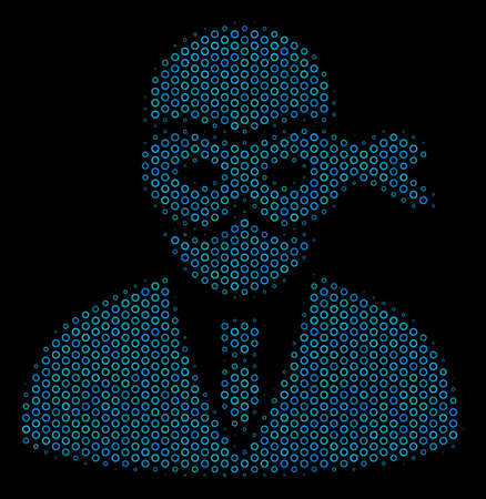 Halftone Masked thief composition icon of circle elements in blue color hues on a black background. Vector spheric dots are grouped into masked thief composition.