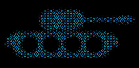 Halftone Military tank mosaic icon of circle elements in blue color tints on a black background. Vector spheric points are arranged into military tank mosaic. Illustration