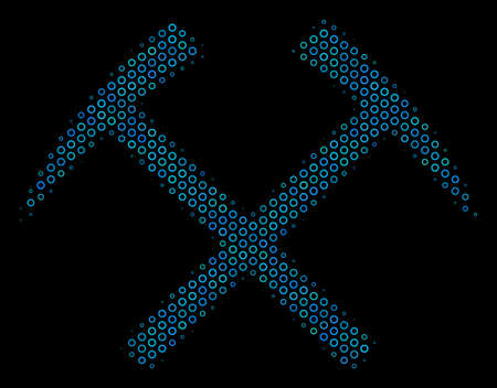 Halftone Mining hammers composition icon of spheres in blue color hues on a black background. Vector bubble spheres are grouped into mining hammers composition.