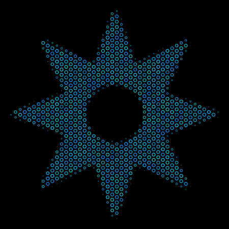 Halftone New star mosaic icon of spheric bubbles in blue color tints on a black background. Vector spheric parts are united into new star mosaic. Illustration