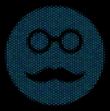 Halftone smiley face composition icon of circle bubbles in blue color tones on a black background. Vector circle items are grouped into pension smiley composition.