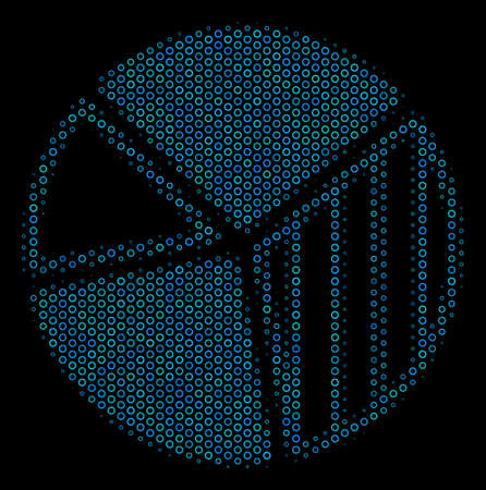 Halftone Pie chart collage icon of circle elements in blue color hues on a black background. Vector circle bubbles are grouped into pie chart collage.