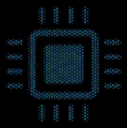 Halftone Processor mosaic icon of empty circles in blue color hues on a black background. Vector spheric parts are arranged into processor mosaic. Illusztráció