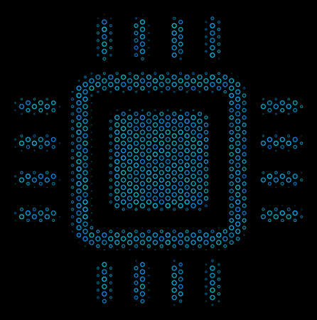 Halftone Processor mosaic icon of empty circles in blue color hues on a black background. Vector spheric parts are arranged into processor mosaic. Illustration