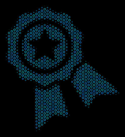 Halftone Quality composition icon of spheres in blue color hues on a black background. Vector empty circles are combined into quality composition. Illustration