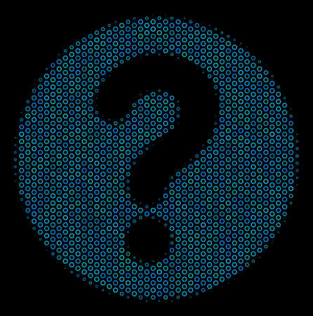 Halftone Query mosaic icon of circle elements in blue color tones on a black background. Vector circle items are organized into query mosaic.