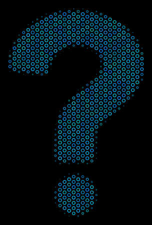 Halftone Question composition icon of circle bubbles in blue color tinges on a black background. Vector circle bubbles are united into question illustration.