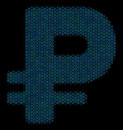 Halftone Ruble mosaic icon of spheres in blue color tints on a black background. Vector round spheres are combined into rouble mosaic. Illustration