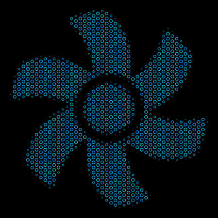 Halftone Rotor mosaic icon of spheric bubbles in blue color hues on a black background. Vector spheric parts are combined into rotor mosaic.