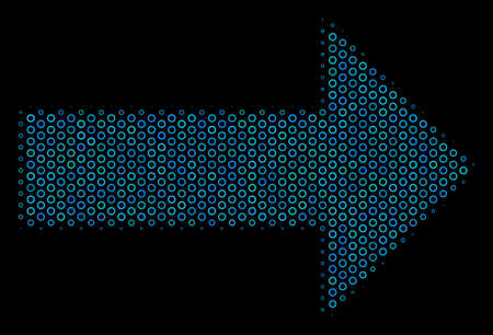 Halftone Right arrow collage icon of empty circles in blue color tones on a black background. Vector spheric dots are composed into right arrow collage.