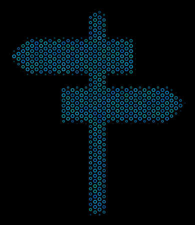 Halftone Road pointer mosaic icon of circle bubbles in blue color tones on a black background. Vector circle bubbles are composed into road pointer collage.