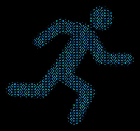 Halftone Running man collage icon of spheres in blue color hues on a black background. Vector contour donuts are organized into running man collage.