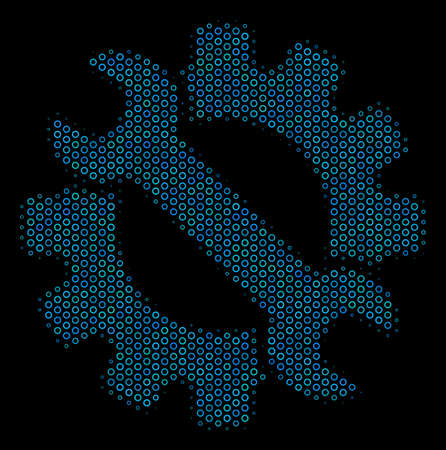 Halftone Service tools mosaic icon of spheric bubbles in blue shades on a black background. Vector round spheres are composed into service tools mosaic.