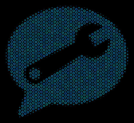 Halftone Service message collage icon of empty circles in blue color tints on a black background. Vector spheric parts are grouped into service message collage.