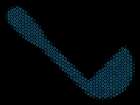 Halftone Scoop mosaic icon of spheric bubbles in blue color tints on a black background. Vector spheric parts are combined into scoop composition. Illustration