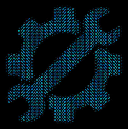 Halftone Service tools mosaic icon of spheric bubbles in blue color tinges on a black background. Vector circle bubbles are arranged into service tools collage.